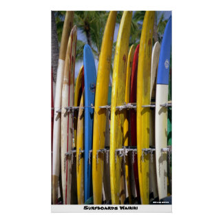 Surfboards Waikiki Poster