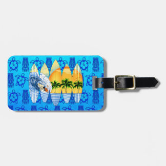 Surfer And Surfboards Luggage Tag