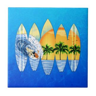 Surfer And Surfboards Tile