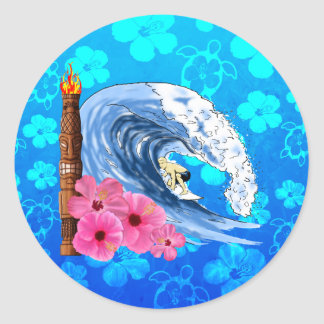 Surfer And Tiki Statue Classic Round Sticker