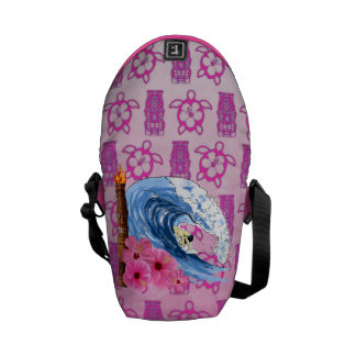 Surfer And Tiki Statue Commuter Bags