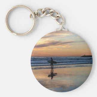 Surfer at Sunset Keychain