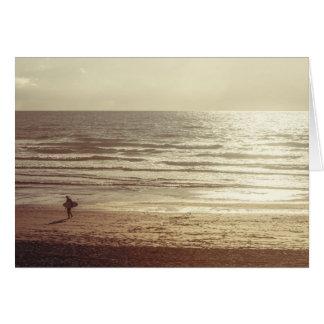 Surfer at sunset, Newquay, Cornwall Greeting Card
