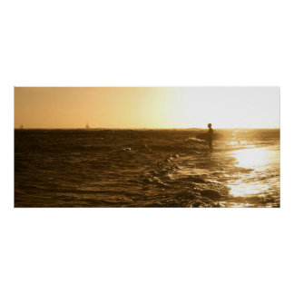 Surfer at Sunset - Oahu, Hawaii Poster