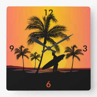 Surfer at sunset square wall clock