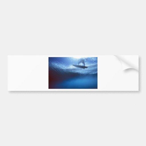 Surfer blue wave underwater view bumper stickers