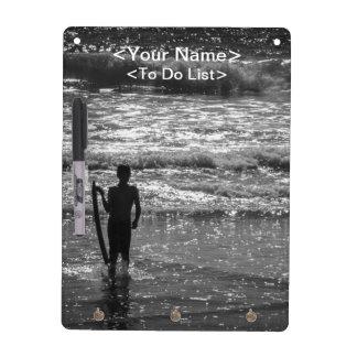 Surfer Boy Silhouette ( black and white) Dry-Erase Board