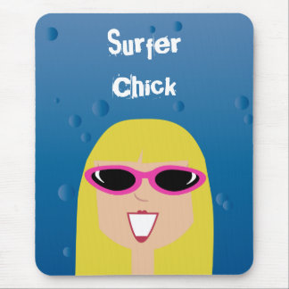 Surfer Chick With Sunglasses Mouse Pad