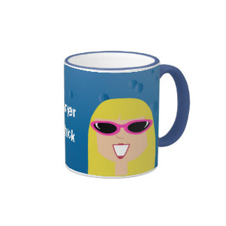 Surfer Chick With Sunglasses Ringer Mug