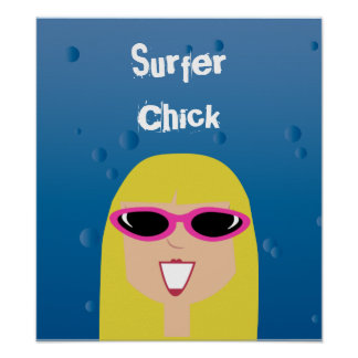 Surfer Chick With Sunglasses Poster