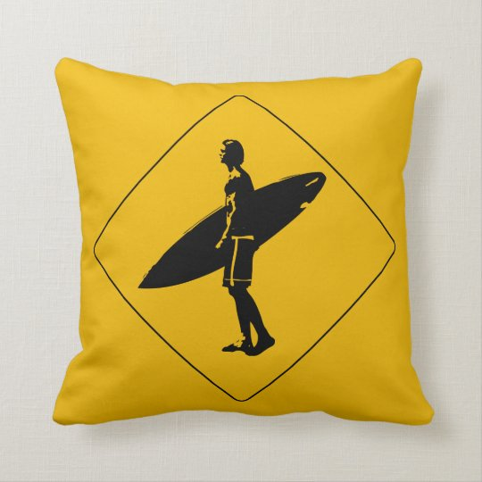 Surfer Crossing Warning Sign, San Diego Throw Pillow