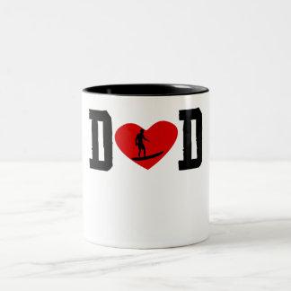 Surfer Dad Heart Two-Tone Coffee Mug