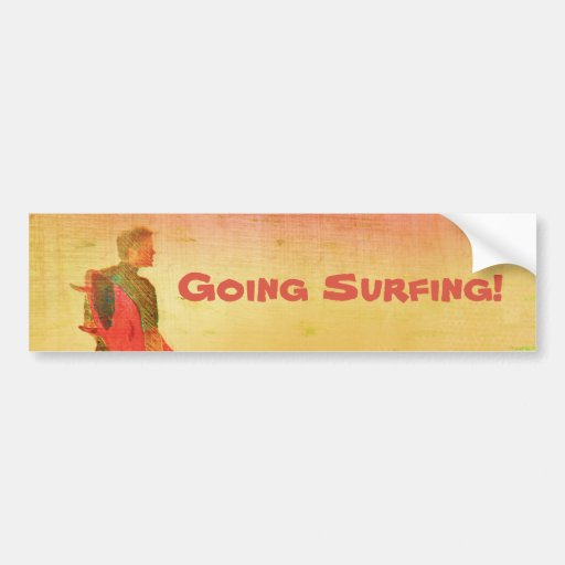 Surfer Dude Colorful Poster Style Bumper Sticker