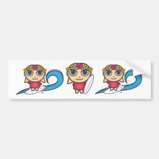 Surfer Girl Cartoon Character Stickers Car Bumper Sticker
