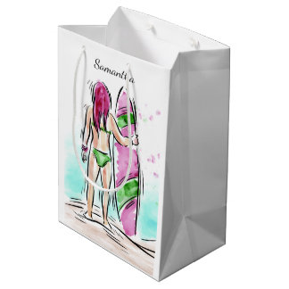 Surfer Girl custom name gift bag
