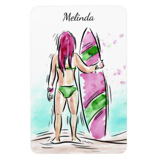 Surfer Girl custom name magnet