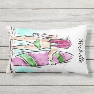 Surfer Girl custom name throw pillows