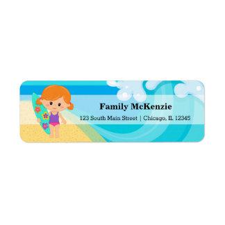 Surfer girl return address label