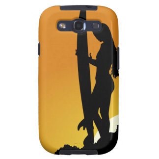Surfer girl Silhouette Galaxy S3 Covers