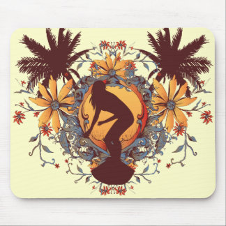 Surfer Girl Silhouette Mouse Pad