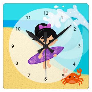 Surfer girl square wall clock