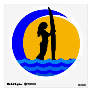 Surfer Girl with Ocean Wave and Sunset Wall Sticker