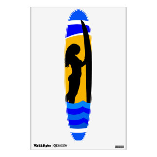 Surfer Girl with Surfboard Ocean Waves and Sunset Wall Sticker