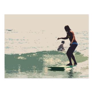 Surfer girls rock postcard