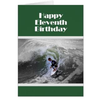 Surfer Happy Eleventh Birthday Card