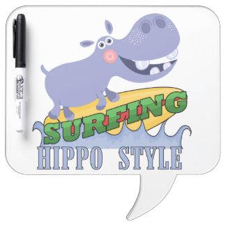 Surfer Hippopotamus Dry Erase Whiteboards