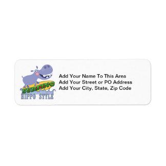 Surfer Hippopotamus Return Address Label