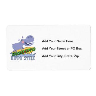 Surfer Hippopotamus Shipping Label