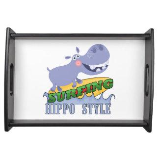 Surfer Hippopotamus Service Tray