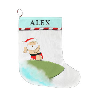 surfer holiday large christmas stocking