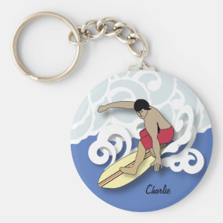 Surfer in the Barrel Keychain