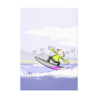 Surfer learning to stay in the table canvas print