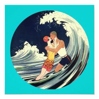 Surfer Lovers Kissing Vintage Illustration Card