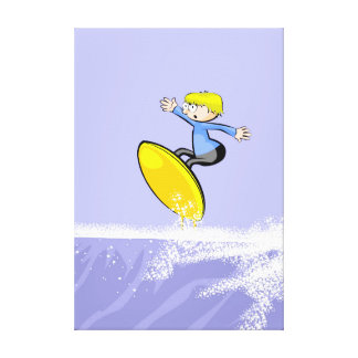 Surfer mounting a giant wave canvas print
