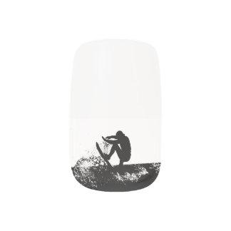 Surfer Nail Art Black and White