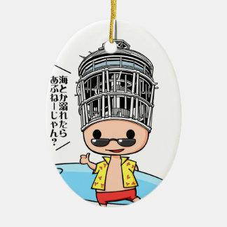 Surfer Okada English story Shonan coast Kanagawa Ceramic Ornament