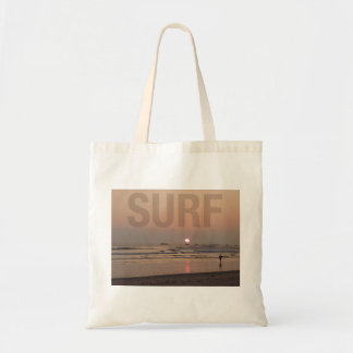 Surfer on Beach at Sunrise Photo Budget Tote