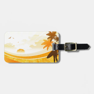 Surfer on Beach Design Luggage Tag