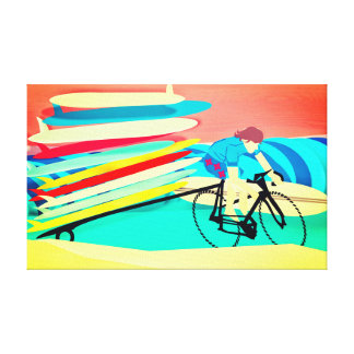 Surfer on Bike carrying Surfboards Canvas Print