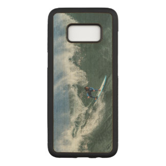 Surfer on Blue and White Surfboard Carved Samsung Galaxy S8 Case