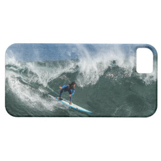 Surfer on Blue and White Surfboard Case For The iPhone 5