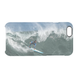 Surfer on Blue and White Surfboard Clear iPhone 6/6S Case