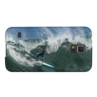 Surfer on Blue and White Surfboard Galaxy S5 Covers