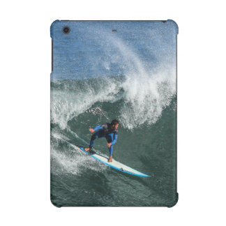 Surfer on Blue and White Surfboard iPad Mini Case