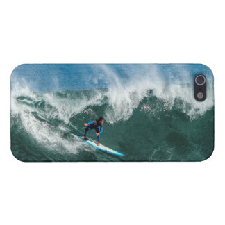 Surfer on Blue and White Surfboard iPhone 5 Case