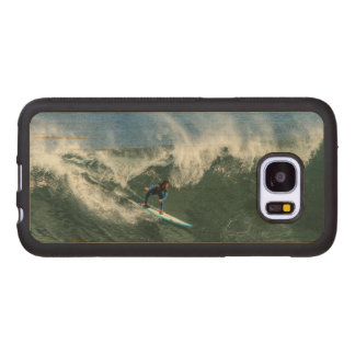 Surfer on Blue and White Surfboard Wood Samsung Galaxy S7 Case